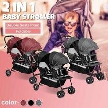 Детская коляска на колесиках с двумя сиденьями, на переднем и заднем сидении, на плоской подошве, двойная коляска, переносная Складная коляска, 2 в 1, тележка для новорожденных