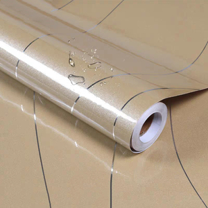 Thick PVC Furniture Cabinet Self adhesive Film Sticker Gold Paint Stripe Wallpaper Silver Line Waterproof Wardrobe Contact Paper