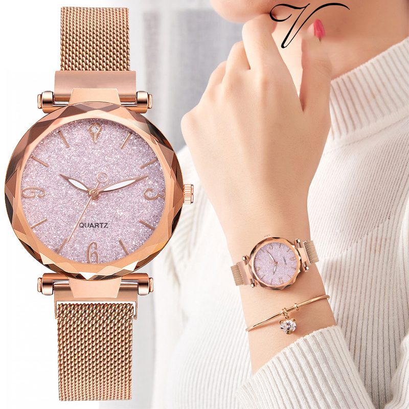 1 PC Rose Gold Women Watches Fashion Luxury Magnetic Starry Sky Lady Slim Wrist Watch Mesh Female Clock For Gift Ladies Watch