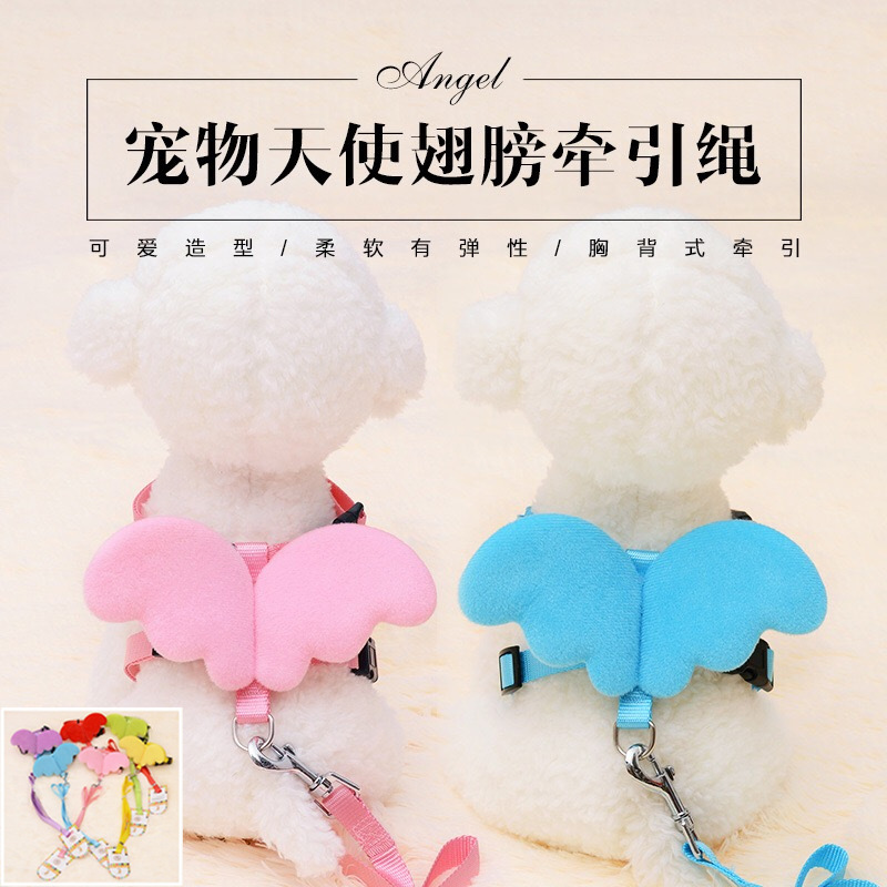 Angel Wings I-shaped Chest And Back Clothes Cat Pet's Chest-back-Hand Holding Rope Cute Dogs And Cats Dog Hand Holding Rope Chai