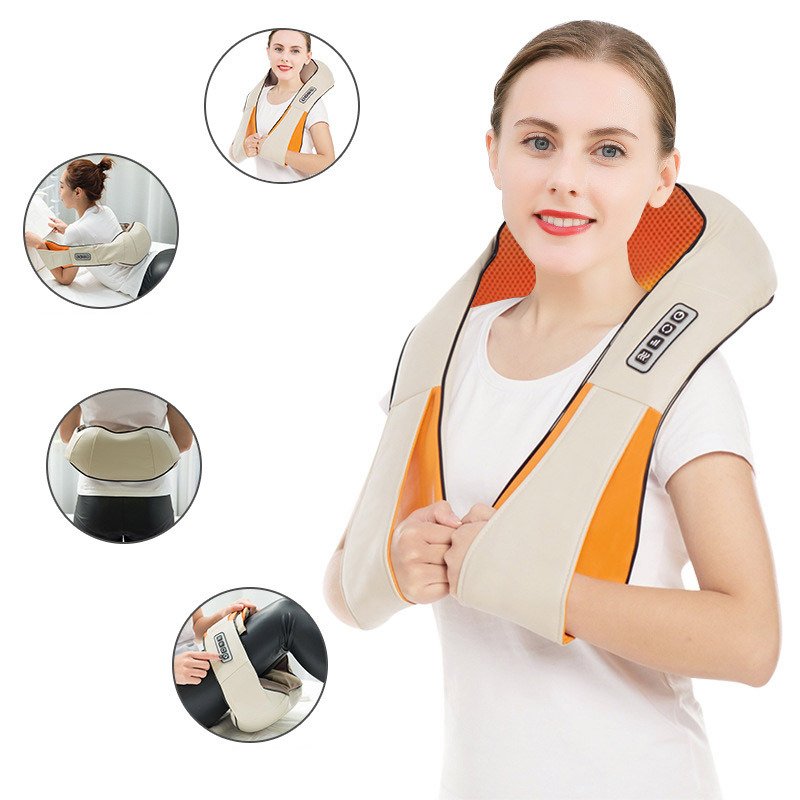 New Electrical Massage Shiatsu Back Shoulder Body Neck Massager Multifunctional Shawl Infrared Heated Kneading Car/Home Massager
