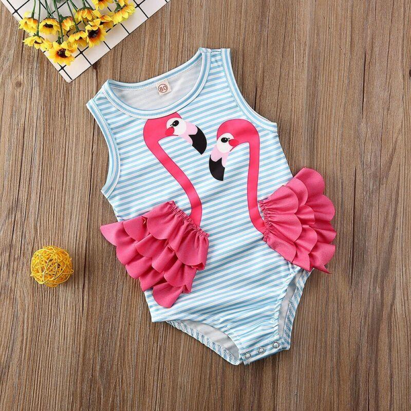 Toddler Kids Baby Girls 3D Flamingo Bikini Swimwear Swimsuit Bathing Suit Beach