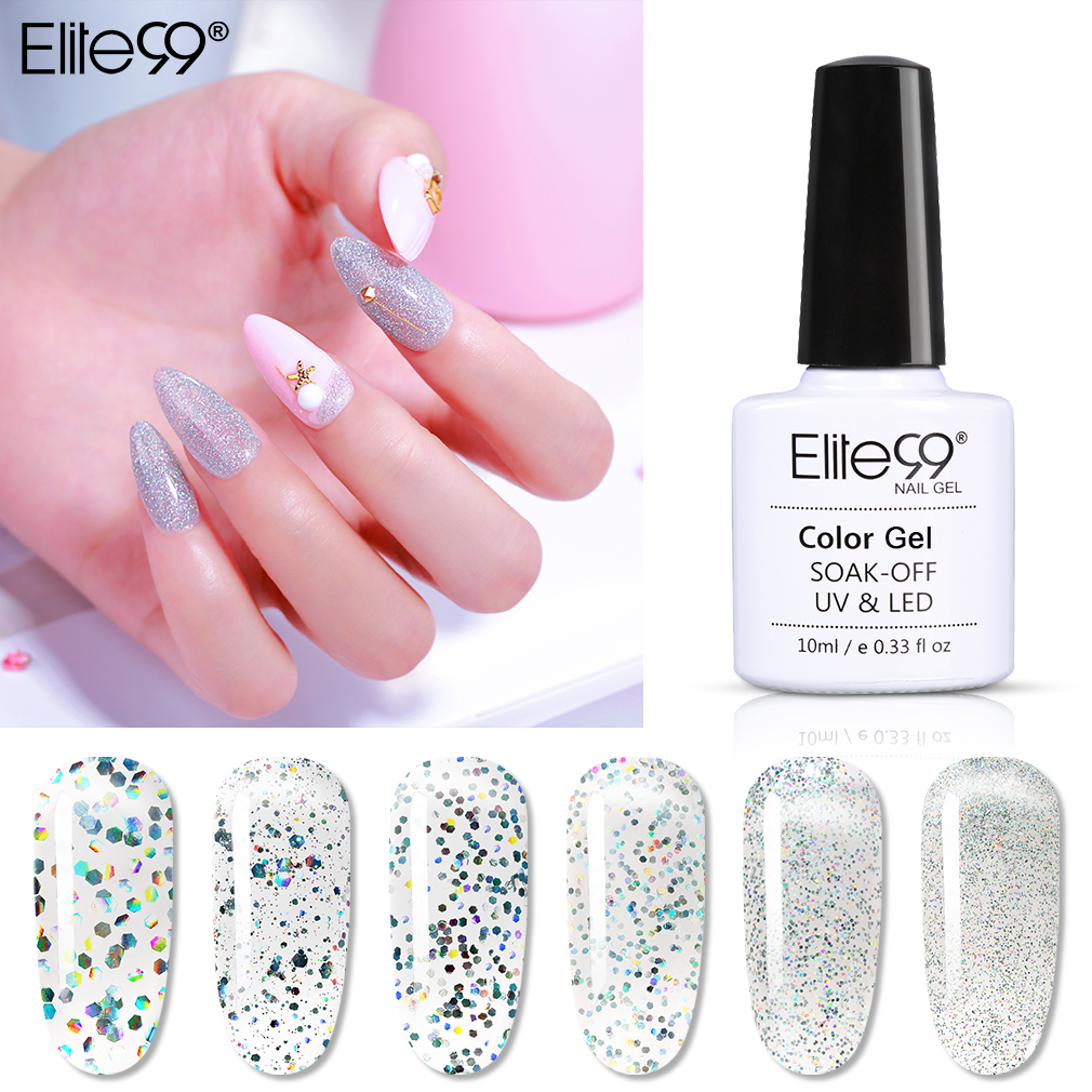 Elite99 10ml Laser Silver Nail Gel Polish Shimmer Glitter Color Gel Nail Polish Shiny Nail Varnish Soak Off Nail Art Manicure