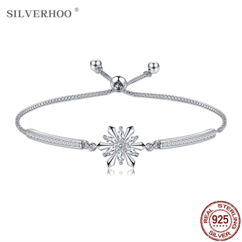 SILVERHOO 925 Sterling Silver Bracelet Snowflake Sparkle CZ Zircon Adjustable Bracelets Bangle For Women Anniversary Jewelry women bracelets silver dragonfly bracelet for women romantic bracelets silver 925 jewelry