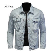 New Spring Bomber Light Blue Ripped Denim Jacket For Men Tattered Jean Coats Motorcycle Casual Outwear Clothing Overcoat Outwear