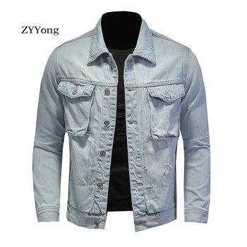 ZYYong hole denim Men's Denim Jacket High Street Retro Motorcycle Men's Jacket Bomber Jacket Fashion Street Clothing Jacket Men