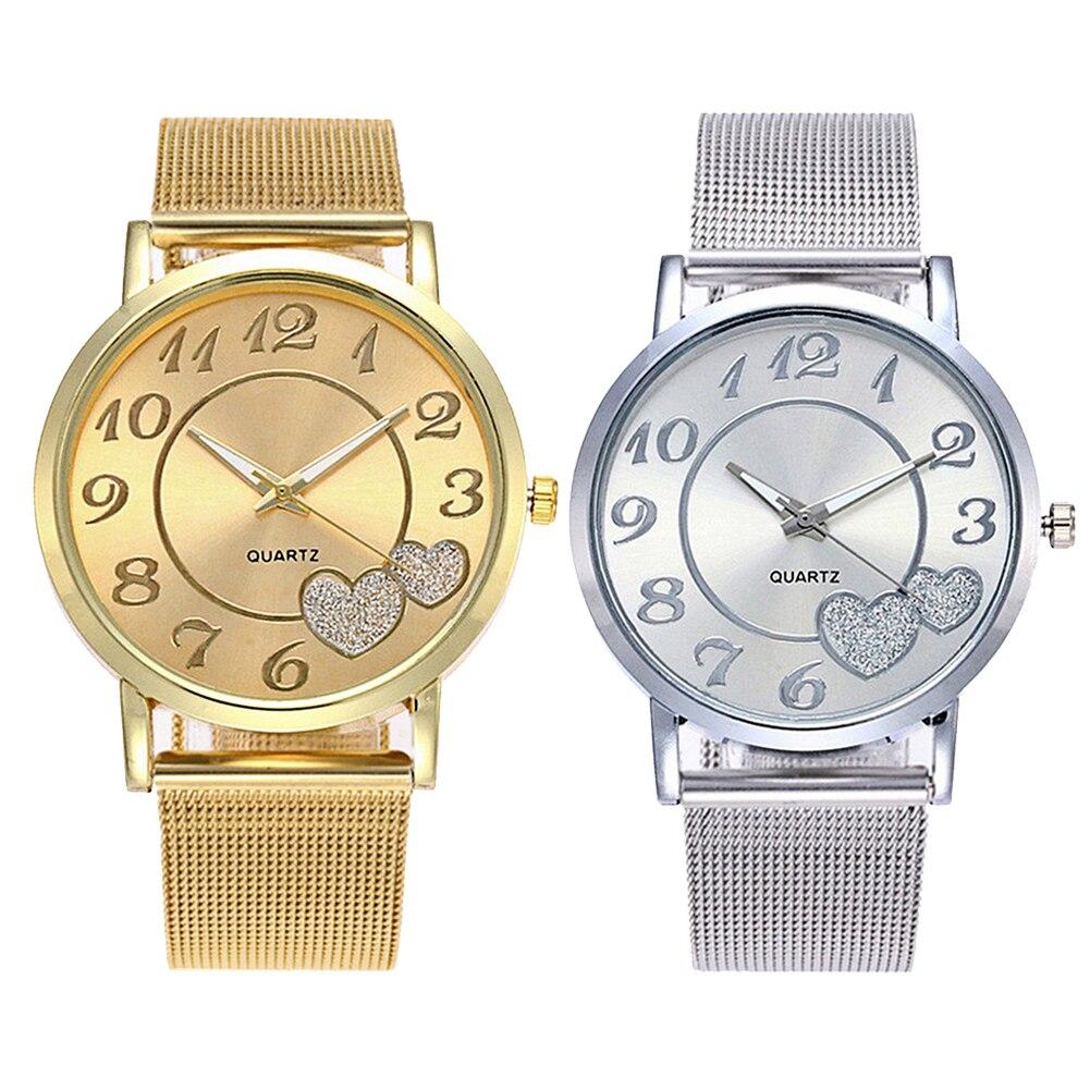 Fashion Women Heart Arabic Numerals Round Dial Mesh Band Analog Quartz Watch Ladies Dress Watches Gift Luxury  Christmas Gifts
