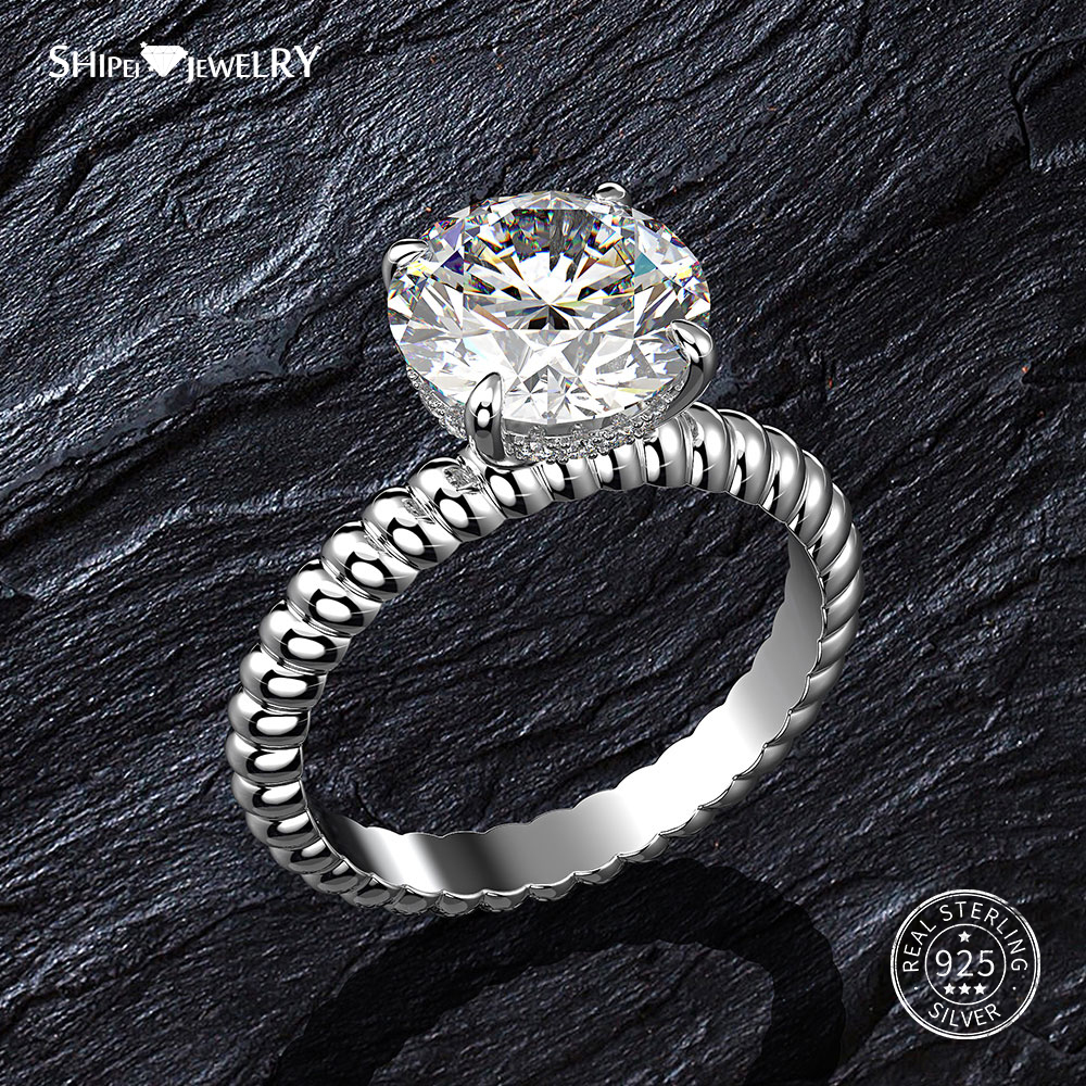 Shipei White Sapphire Ring For Women 100% 925 Sterling Silver 10mm Gemstone Ring  Wedding Engagement Cocktail Size 5-9