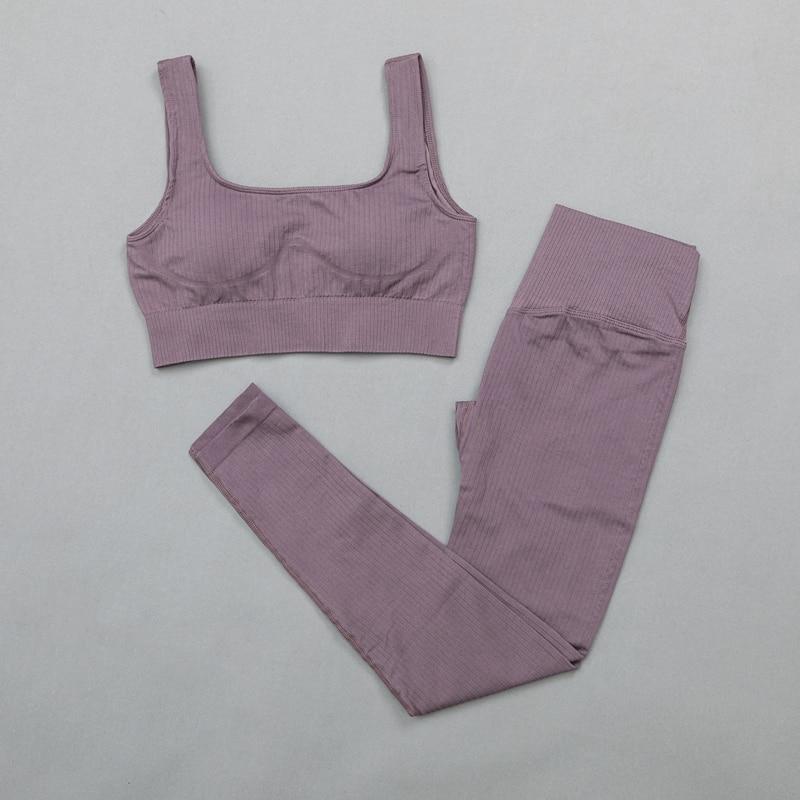 BraPantsDarkPurple -Women's sportswear Seamless Fitness Yoga Suit High Stretchy