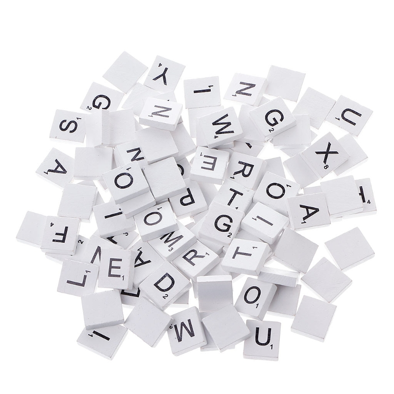 100Pcs Wooden Colourful Scrabble Tiles Mix Letters Varnished Alphabet Scrabbles N1HB