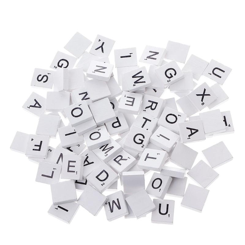 100Pcs Wooden Colourful Scrabble Tiles Mix Letters Varnished Alphabet Scrabbles N1HB