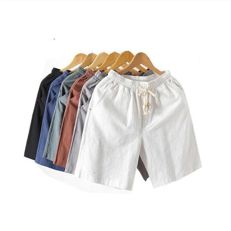 2019 Summer Cotton Linen Shorts Loose Men's Casual Shorts Drawstring Waist Slim Fit Beach Shorts Men Plus Size 4XL 5XL