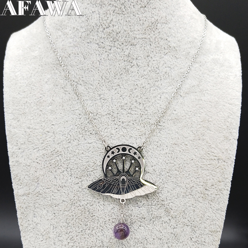 Image 2 - 2019 Fashion Bat Witchcraft Moon Sun Stainless Steel Statement 