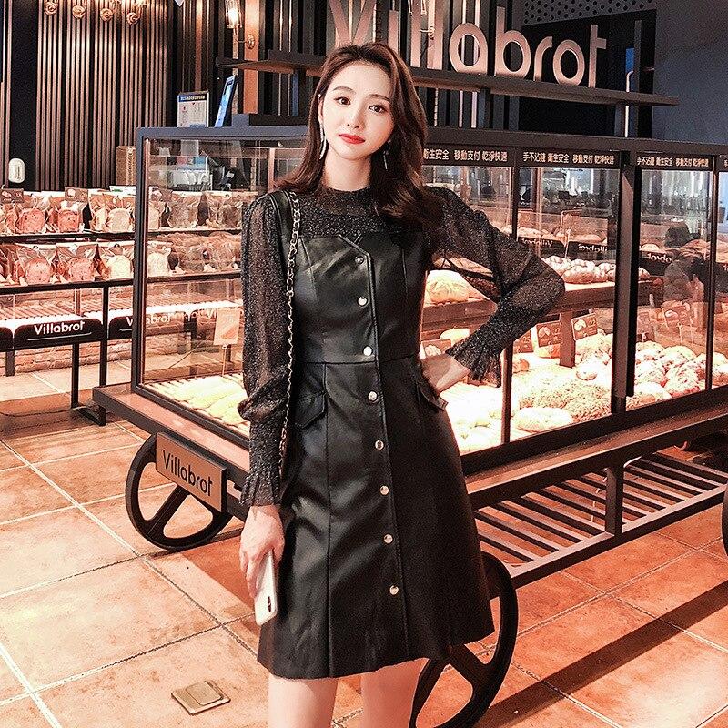 WOMEN'S Dress 2018 Autumn New Products Debutante Elegant Transparent Base Shirt + PU Leather Strap Dress Two-Piece Set