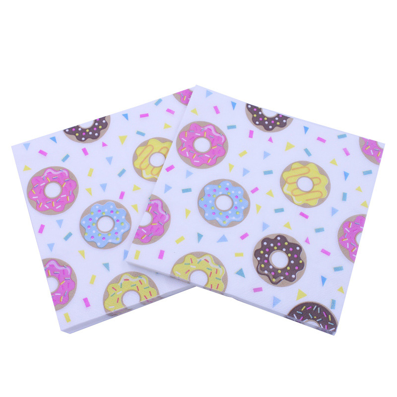 [Currently Available] Printed Napkin Donuts Biscuit Paper Towel Napkin Towel Party Restaurant Decoration Cross Border