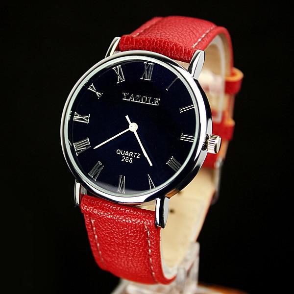 YAZOLE Ladies Red Watches Leather Band Dress Wrist Watch Women Hours Simple Casual Bracelet Women's Clock Relogio Feminino