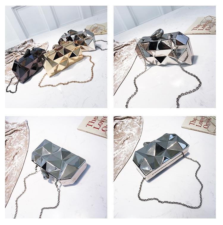 Hexagon Women Handbags Metal High Quality Clutches Fashion Geometric Mini Party Black Evening Purse Silver Bags Gold Box Clutch (8)