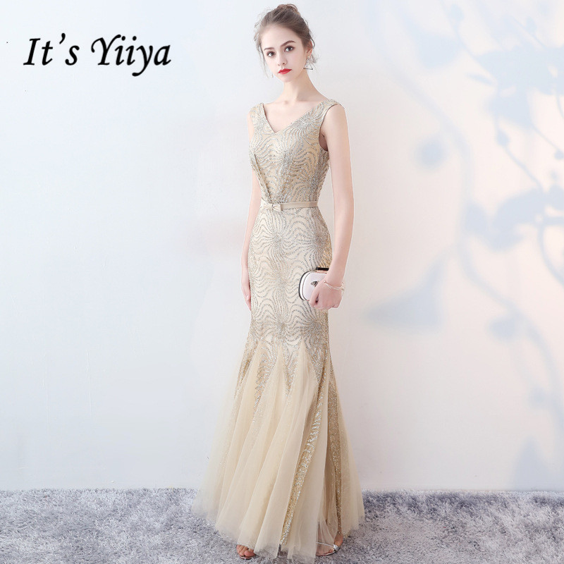 It's Yiiya Formal Evening Dress Gold Sparkle Sequined Tulle Long Party Gowns Robe Soiree V-neck Vestidos De Fiesta De Noche K205