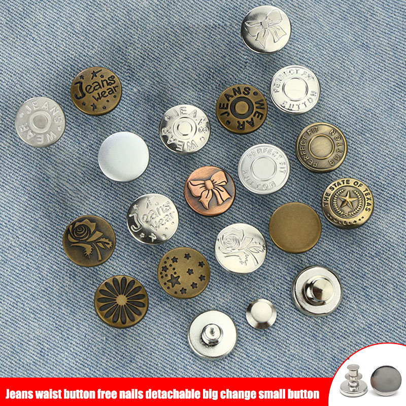 New Arrival 10pcs Retractable Jeans Button Adjustable Removable Stapleless Metal Button Zinc Alloy Round