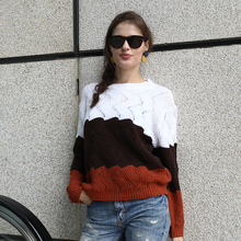 Striped Crewneck Knitted Vintage Splice Sweater SF