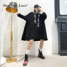Loose Fit Black Letter Printed Long Oversized Sweatshirt New Hooded Sleeve Women Big Size Fashion Autumn Winter Sweatshirts
