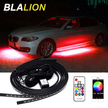 4pcs Car Underglow Led Strip Light Kit APP/ Remote Control RGB Color Atmosphere Decorative Lamp Led Ambient Light Auto Backlight