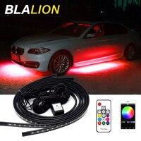 4 Uds coche Led luz Led Luz de tira de RGB APP/Control Remoto colorido bajos ambiente decorativo lámpara de luz Led de ambiente