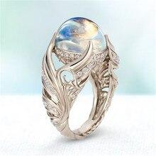 100% prawdziwe S925 srebro kolor kamień księżycowy Bizuteria kamień pierścień dla kobiet Anillos De grzywny srebro 925 biżuteria Hip-hop pierścień