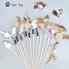 Criativo madeira brinquedos para animais de estimação gato teaser haste interativa engraçado gato haste de linho cabeça de substituição de malha acessórios para animais de estimação suprimentos