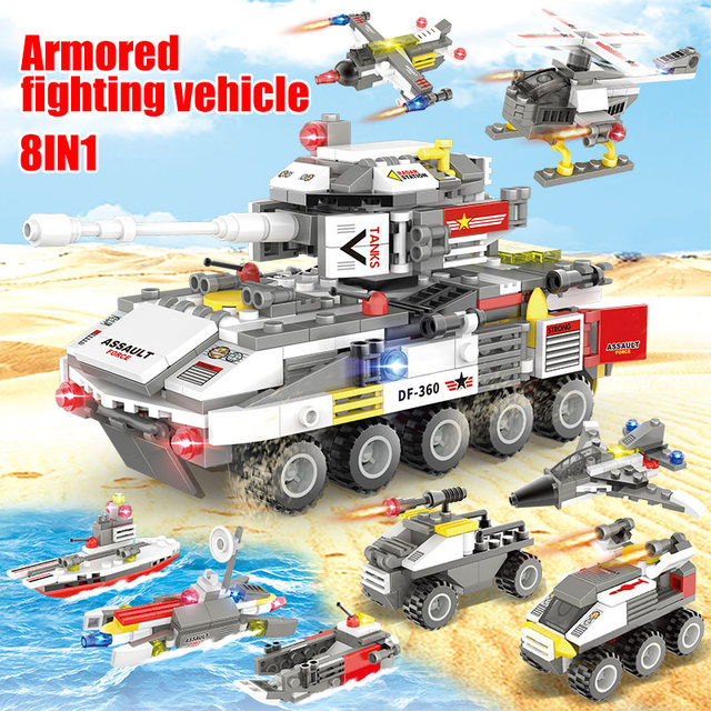 491pcs DIY Wheeled Armored Tank Model Building Blocks Military Aircraft Car Turck Soldier Figures Bricks Toys For Kids