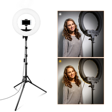 Travor 12 inch LED Ring Light Bi Color LED Dimmable ring lamp Photography selfie light With Stand Tripod For Video Live