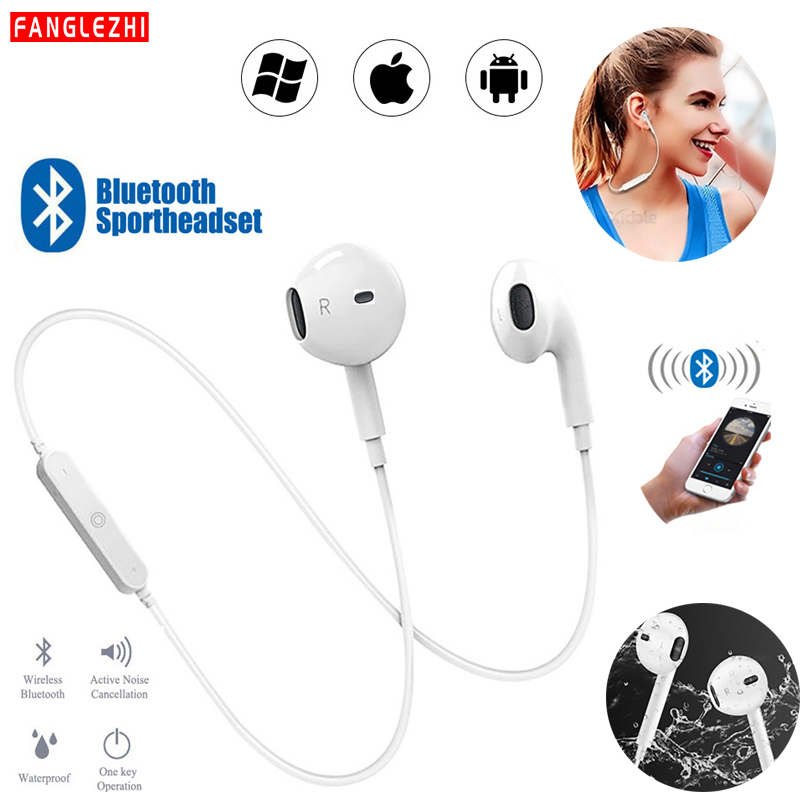 Earphones <font><b>Bluetooth</b></font> <font><b>Wireless</b></font> <font><b>Headphones</b></font> Noise Cancelling Handsfree Headset Neckband Sport Stereo Earphone With Mic for All Phone image
