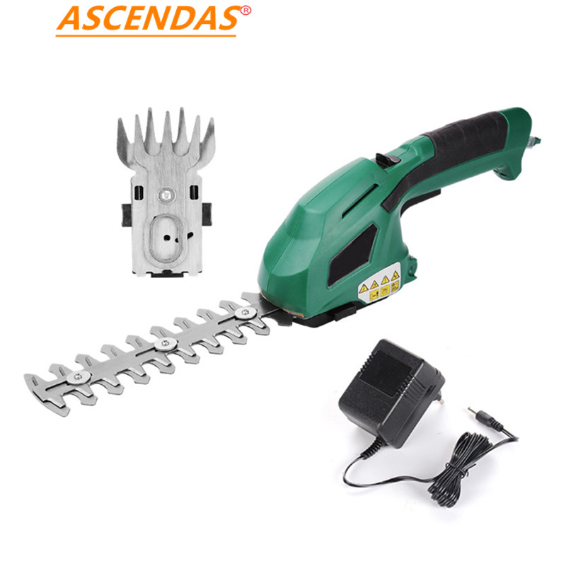 2 in 1 Electric Trimmer 7.2V Lithium-ion Cordless Hedge Trimmer Rechargeable Weeding Shear Household Pruning Mower TP-0273