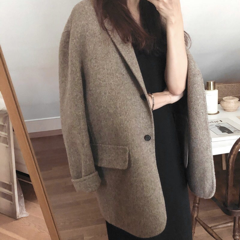 Women's Outwear Pockets Double Wool Regular Length Full Sleeve Solid Single Breasted Notched Korean Winter