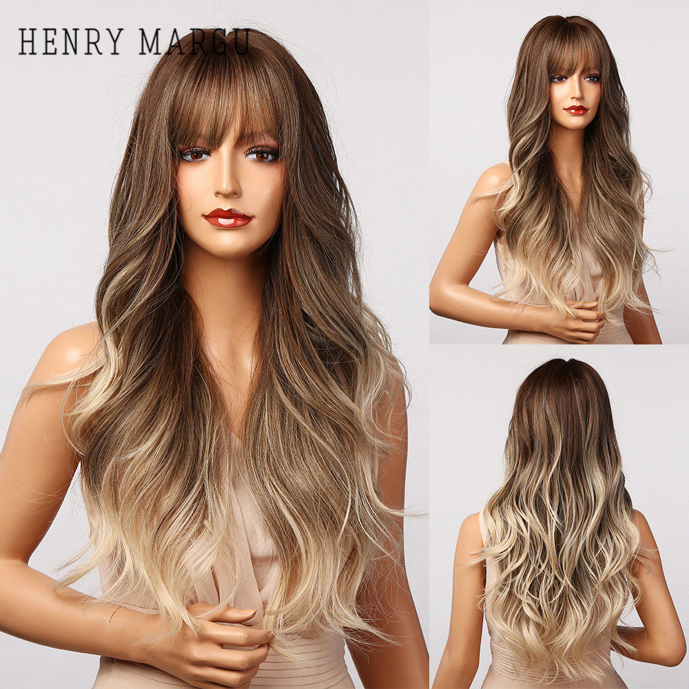 HENRY MARGU Long Brown Blonde Ombre Synthetic Wigs With Bangs Natural Wave Wigs for Women Heat Resistant Party Daily Cosplay Wig