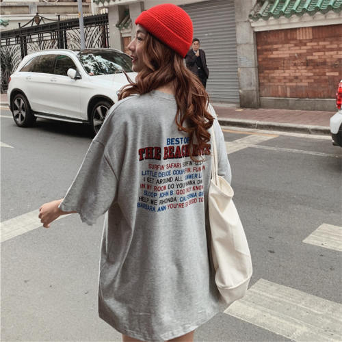 Top-T-Shirts Short-Sleeve Letter Oversize Wind-Street Printed College Fashion Basic All-Match
