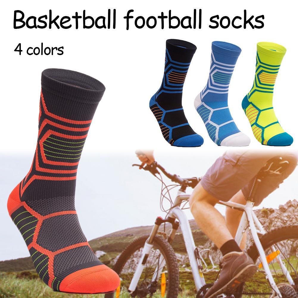 1 Pair Football Socks Feet Breathable Wicking Basketball Middle Tube Socks Elastic Anti-slip Wear-resistant Shock Absorption
