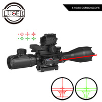 4 16x50 EG Hunting Optics Rifle Scope Holographic 4 Reticle Sight Red Dot With Laser Combo Riflescope Airsoft Air Guns Scope