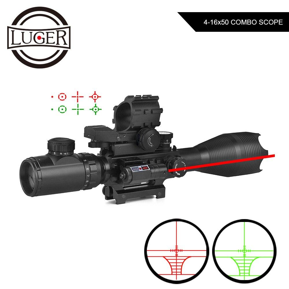 4-16x50 ZB Jagd Optik Zielfernrohr Holographische 4 Absehen Anblick Red Dot Mit Laser Combo Zielfernrohr Airsoft Air Guns Umfang