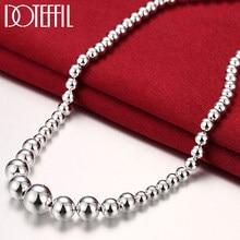 DOTEFFIL-Colgante de Plata de Ley 925 de lujo para mujer, cadena de cuentas lisas, 18 pulgadas