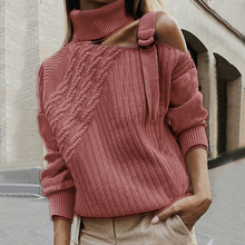 Женский лоскутный свитер леопардовая водолазка сексуальные с открытыми плечами Теплые осенние вязаные свитеры пуловер с длинными рукавами