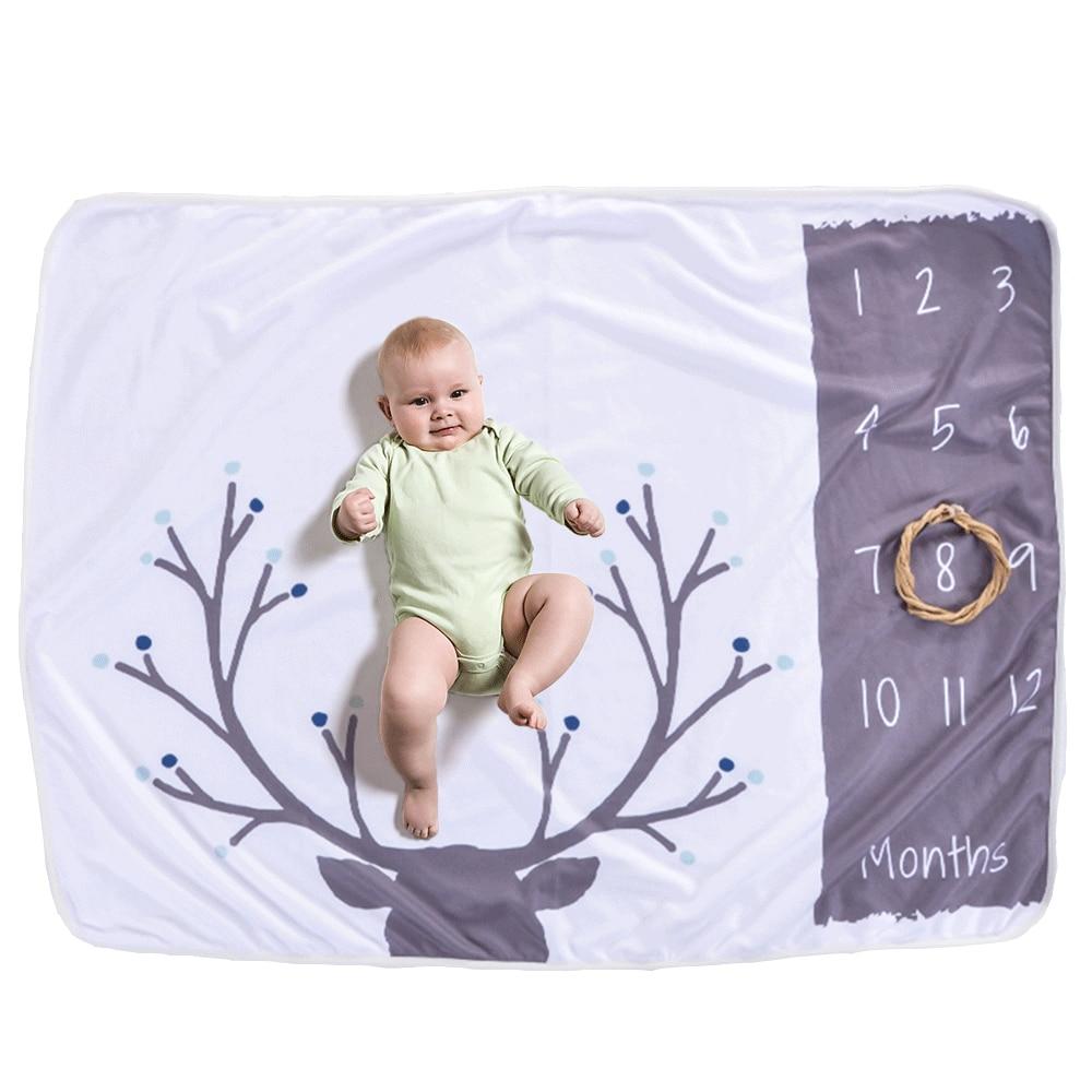 19 стильных детских ежемесячных одеял для девочек и мальчиков с цветочными крыльями, рамка для новорожденных, фон для фотосессии, фланелевый Рождественский олень - Цвет: Type 13