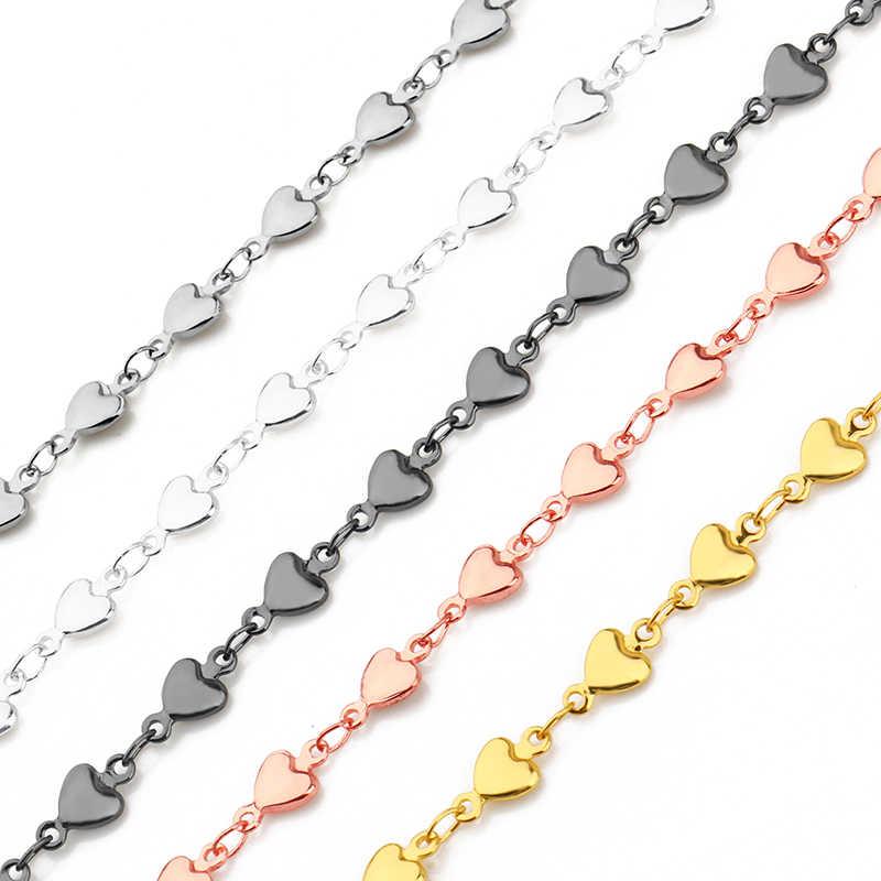 1 metr nowa promocyjna moda łańcuszek na akcesoria ze stali nierdzewnej ręcznie delikatne serce DIY wyrób biżuterii bransoletka naszyjnik