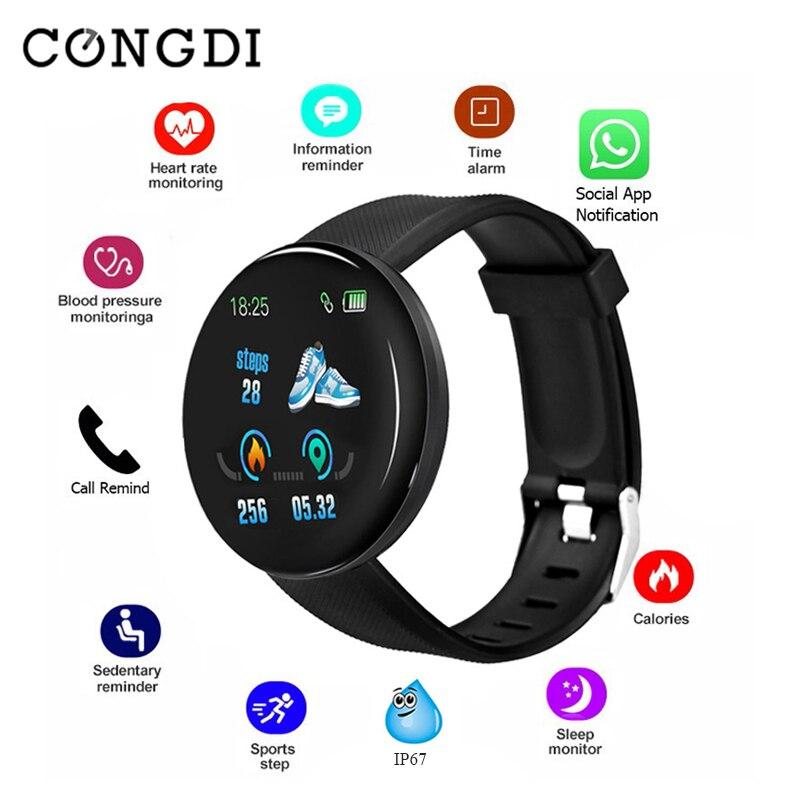 Tüketici Elektroniği'ten Akıllı Saatler'de D18 akıllı saat erkekler kadınlar kalp hızı kan basıncı yuvarlak Smartwatch spor izci su geçirmez spor bilezik akıllı saat title=