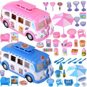 Image 5 - Kids Cute Mini Camper Car Simulation Plastic Pink Motorhome  Vehicle Dollhouse Furniture Accessories for Barbie Pretend Play Toy