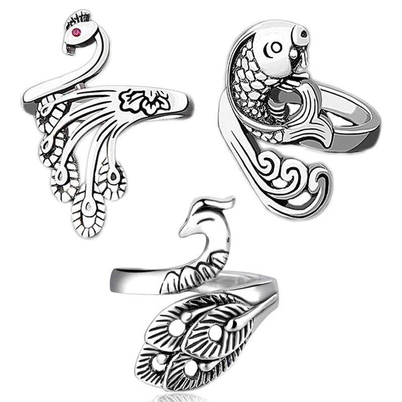 3Pcs Adjustable Knitting Loop Ring-Peacock Goldfish Open Finger Ring,Crochet Finger Yarn Holder,Yarn Guide Finger Holder