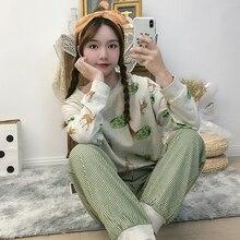 Новые хлопковые пижамы женские пижамы, комплект пижам, толстые женские теплые зимние пижамные комплекты с длинными рукавами, длинные брюки, одежда для отдыха