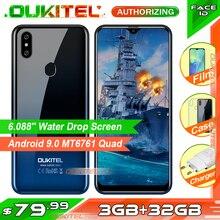 Oukitel smartphone c15 pro + 3gb 32gb, telefone celular, android 9.0, mt6761, tela waterdrop, 4g, lte, 2.4g/5g wi fi impressão digital face id
