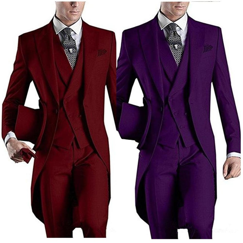 Formal Custom Design White/Black/Grey/Burgundy/Blue Tailcoat Men Party Groomsmen Suits For Wedding Tuxedos Jacket+Pants+Vest 1