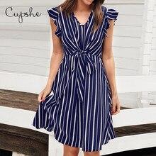 CUPSHE Women V neck Ruffles Dress 2019 New Beach Summer Slim Stripe Print Sundresss Front Knot Vestido